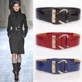 Moda mujer de cuero genuino femenino de la correa elástica de cuero japanned decoración de la mujer cinturón de cuero negro de ancho cinturones para mujer