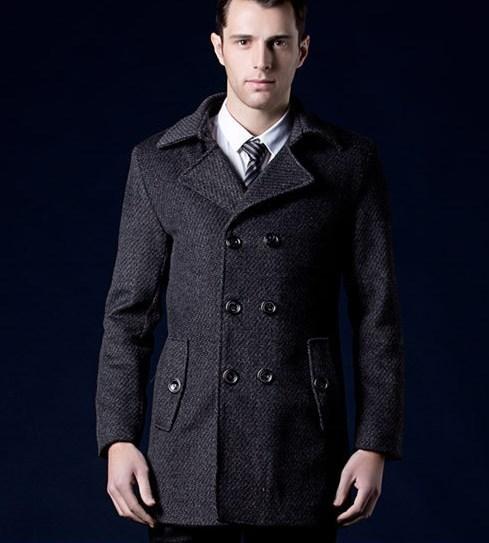 Homens de Lã Outwear Trincheira Homme Europeu de alta Qualidade Black Grey Inverno dos homens Casaco de Ervilha Breasted Dobro Longa Dos Homens Trench Coat 3XL