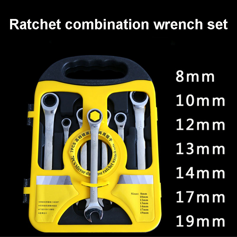 UNeefull Hand Tools 8-19mm Ratchet Wrench Set Geared Spanner Set for Car Repair Tool Kit Torque wrench Combination Wrench Tool UNeefull Hand Tools 8-19mm Ratchet Wrench Set Geared Spanner Set for Car Repair Tool Kit Torque wrench Combination Wrench Tool