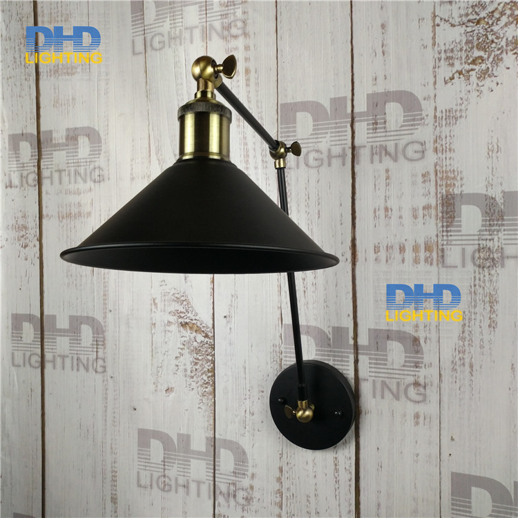 Free shipping black iron shade wall lamp double arm adjustable up and down beside lighting sconce antique brass holder for room цена
