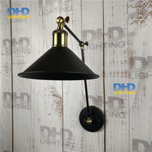 Free shipping black iron shade wall lamp double arm adjustable up and down beside lighting sconce antique brass holder for room(China)