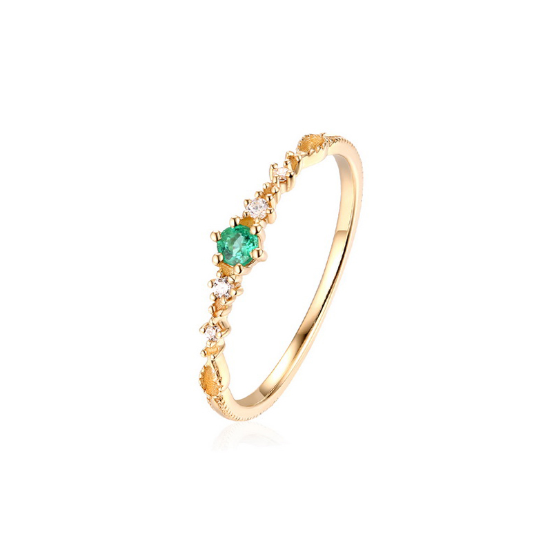 JXXGS New Designs Gold Color Luxury Natural Emerald Ring 14k Gold 3A Zircon  Ring For Women