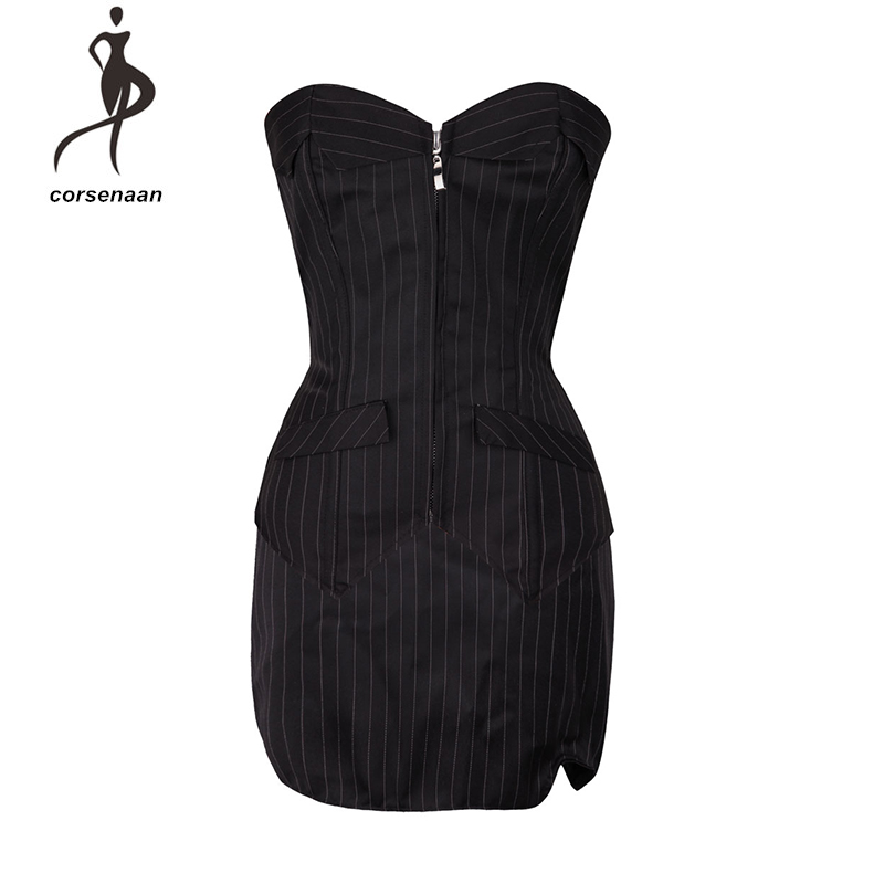 3 Pcs Set Front Zipper Sexy Pinstripe   Corset   Basque Top With Mini Skirt Secretary Fancy Dress Costume For Party 801#