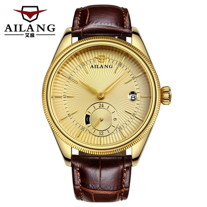 все цены на 2017 new high-quality watch men's luxury brand skeleton automatic mechanical watch leather strap 18K gold watch онлайн