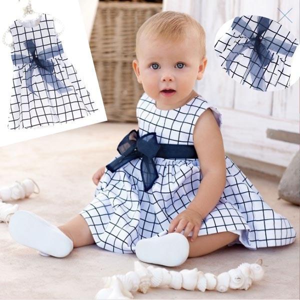 b24e8a80f Niño del bebé embroma algodón outfit ropa Top bow knot plaids vestido para  0 3 año en Vestidos de Mamá y bebé en AliExpress.com