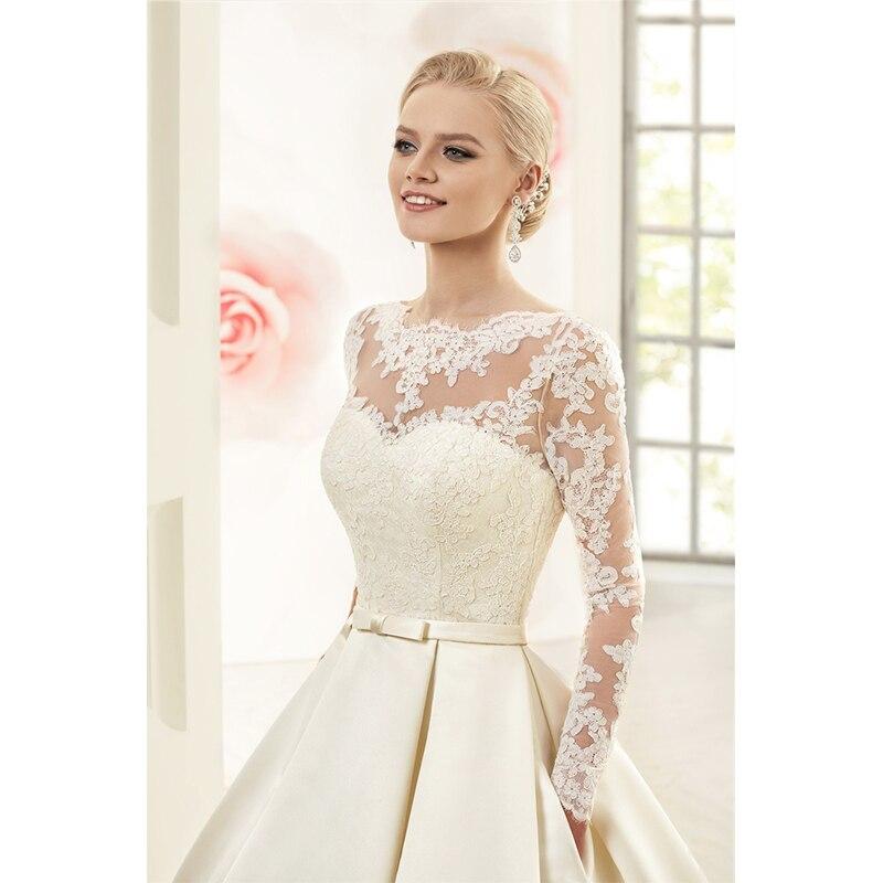 Elegant Simple Long Sleeve Wedding Dress: 2016 High Neck Puffy Backless Bridal Gowns Elegant Simple