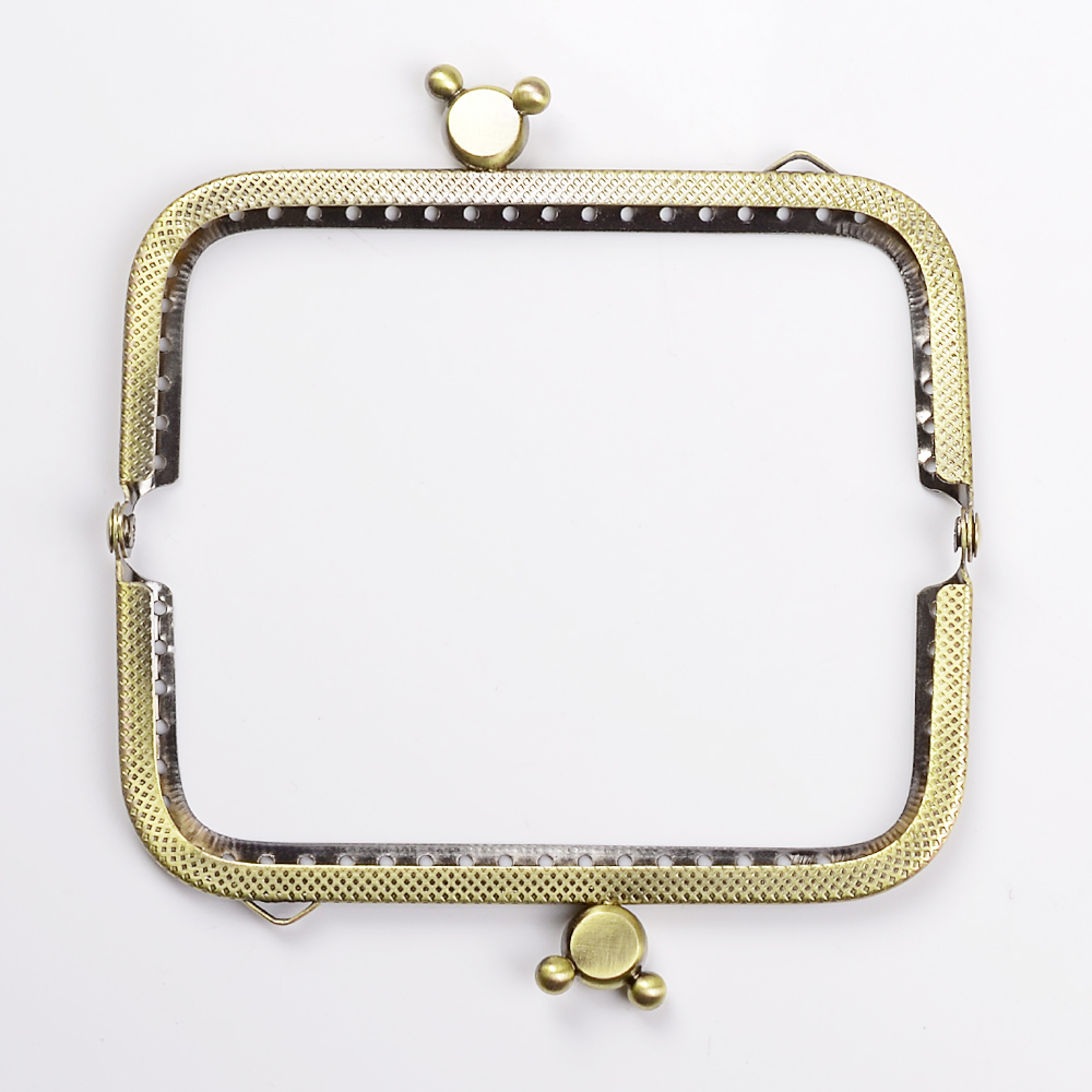 10.5cm Square Metal Purse Frame Handle for Clutch Bag Handbag Accessories Making Kiss Clasp Lock Antique Bronze Bags Hardware
