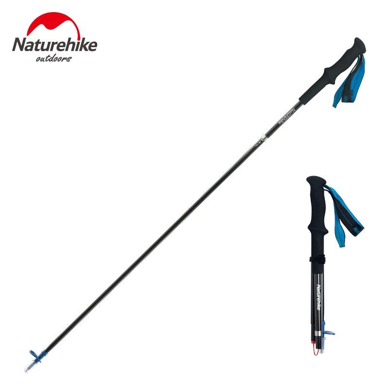 Naturehike 4 Section Folding Carbon Fiber Trekking Pole Ultralight Adjustable Alpenstock Backpacking Waliking Stick NH18D020 Z