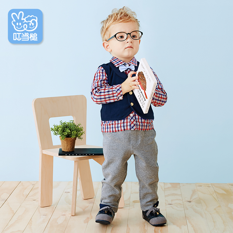 Dinstry 2018  spring and autumn male baby suit  British style Three piece set dinstry spring