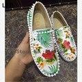 2016 Повседневная Цветочные Мода Обувь Slip On LTTL Эспадрильи Loafer Мужчины Квартиры Обувь мужская Печати Заклепки Обувь Высокого Качества