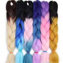 AISI HAIR 100g/pack 24inch Kanekalon Jumbo Braids Hair Ombre Two Tone Colored Crochet Synthetic Braiding Hairstyle