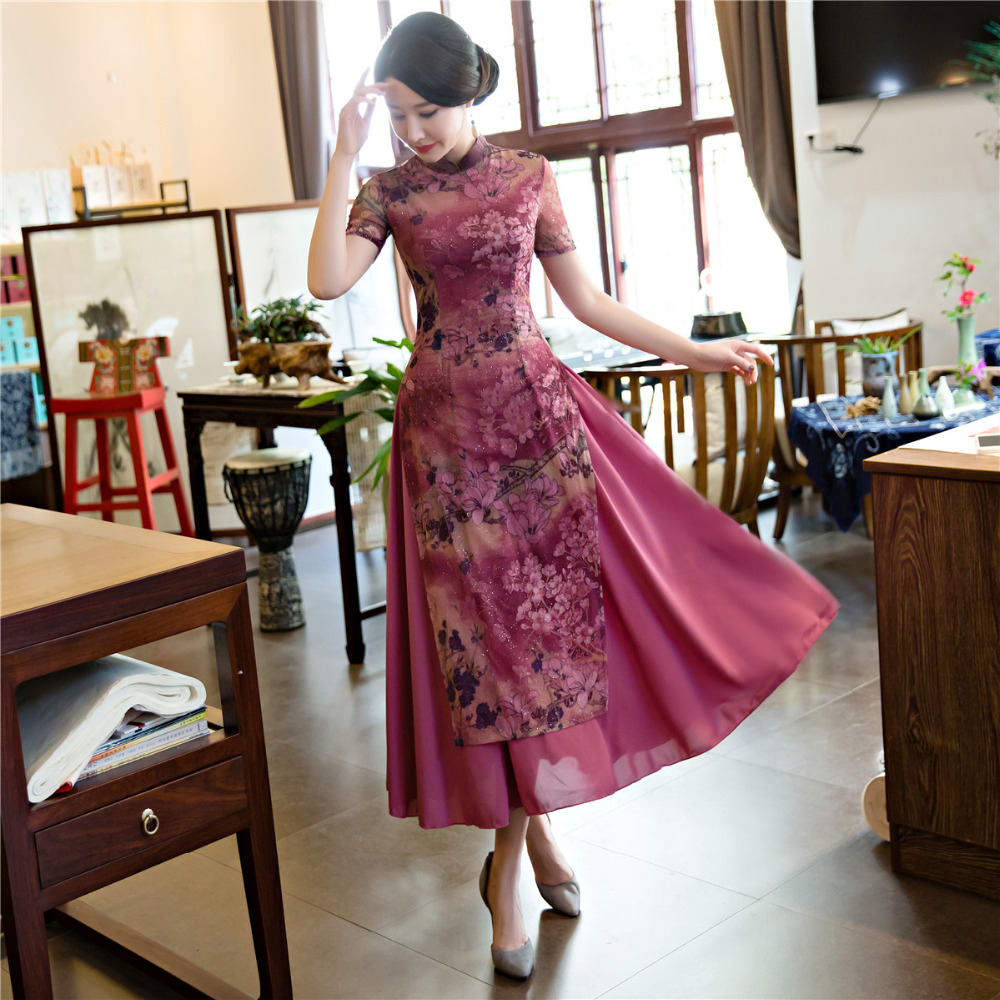Shanghai Story New Arrival Spring Aodai Vietnam Long Cheongsam Dress For Women Traditional Clothing Ao Dai Dresses