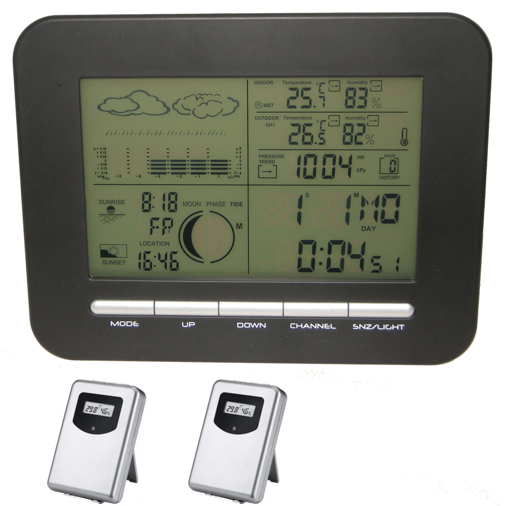 home wireless weather station alarm clock with barometer thermometer hygrometer 2 outdoor. Black Bedroom Furniture Sets. Home Design Ideas