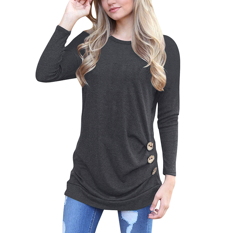 hot sale 2018 autumn women t shirt solid color long sleeve round neck casual slim t shirt camisas feminina