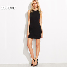 COLROVIE Lace Trim Sheath O Neck Sleeveless Backless Bodycon Dress