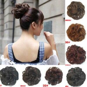 LNRRABC Sale Women Headwear Synthetic Hair Chignon Elastic Hair Bun Extension Curly Scrunchie Ladies Girls Hair Bundles