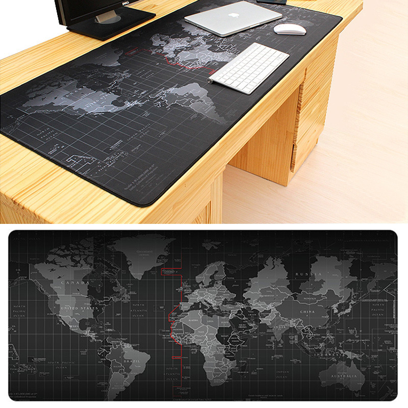 2018 Venda Quente Extra Grande Mouse Pad Antigo Mapa Do Mundo Mousepad do jogo Anti-slip Gaming Mouse Pad de Borracha Natural com Fecho borda