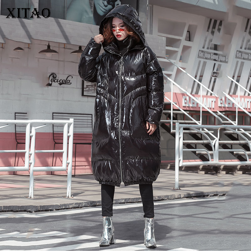[XITAO] Fashion New Women 2018 Winter Long Hoodeed Collar Full Sleeve Thick Coat Female Solid Color Casual Long   Parka   LJT4787