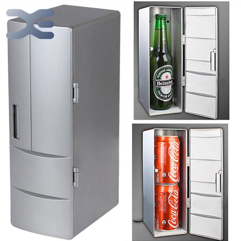 2per Lot Portable Practical Mini Usb Fridge Office Desktop Pc Car Refrigerator Freezer Beverage Can Drink Cooler Plug Play