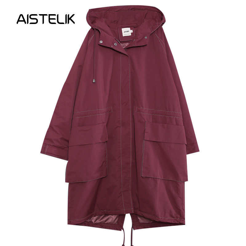 Autumn clothing female 2018 new Korean version of the loose large size cloth literary double pocket hooded windbreaker jacket in Trench from Women 39 s Clothing