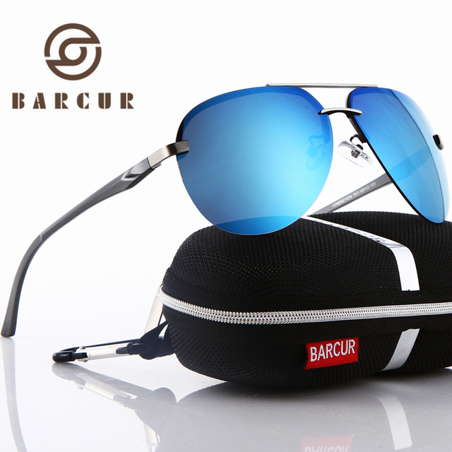 BARCUR Aluminum Magnesium Polarized Sunglasses Male Sunglasses Driver/Fishing/Travel Pilot Sunglasses Unisex With Original Box