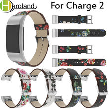 Купить с кэшбэком Luxury Painted Retro Wristband Leather For Fitbit Charge 2 Printing LeatherStrap Replacement smart WatchBand For Fitbit Charge 2
