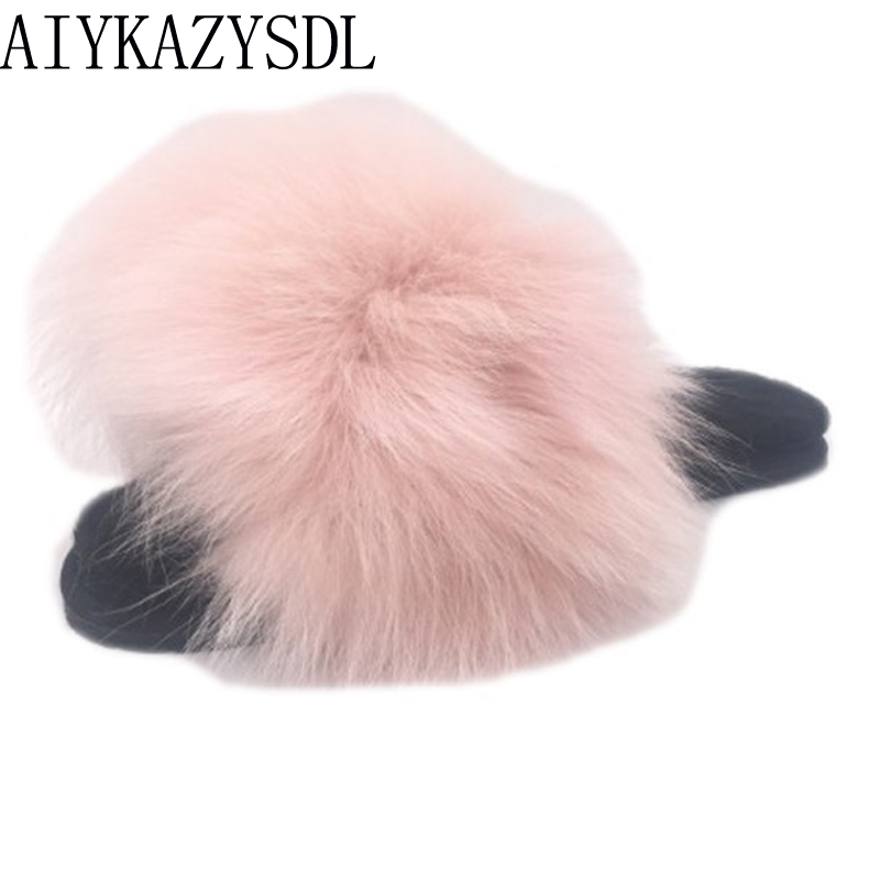 AIYKAZYSDL Luxury Natural Real Genuine Fox Fur Slippers Flat Shoes Autumn Winter Warm Fluffy Comfy Furry Sandals Slides MulesAIYKAZYSDL Luxury Natural Real Genuine Fox Fur Slippers Flat Shoes Autumn Winter Warm Fluffy Comfy Furry Sandals Slides Mules