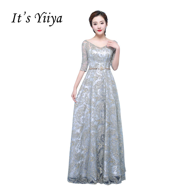 Its YiiYa V-neck Gray Half Sleeves Prom Dresse Simple Lace Tulle Illusion Sequined Floor Length Sexy Luxury Evening Gowns X252 ...