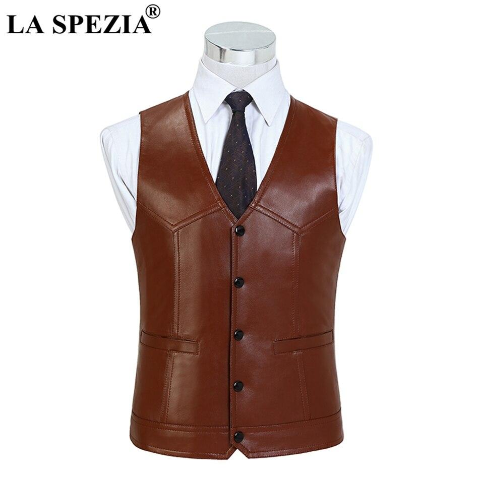 LA SPEZIA коричневый жилет для мужчин из натуральной овечьей кожи обтягивающие классические натуральная кожа Элитный бренд куртка без рукаво