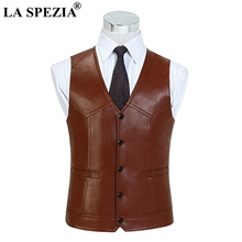 LA SPEZIA Brown Waistcoat For Men Genuine Sheepskin Leather Slim Fit Classic Vest Natural Leather Luxury Brand Sleeveless Jacket