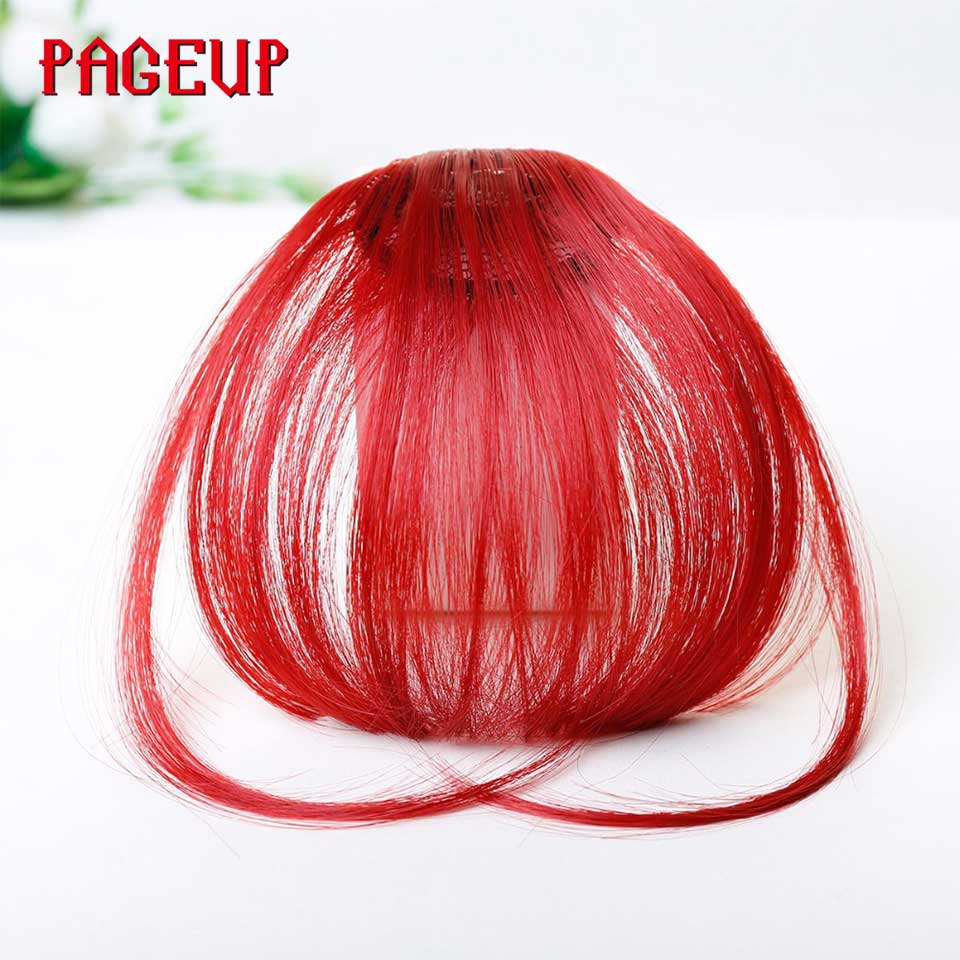 Pageup 6 Colors Synthetic Natural Front Bangs Hair pieces Clip In Fake Bangs For Women Clip In Hair Extensions Short Front Bangs (11)