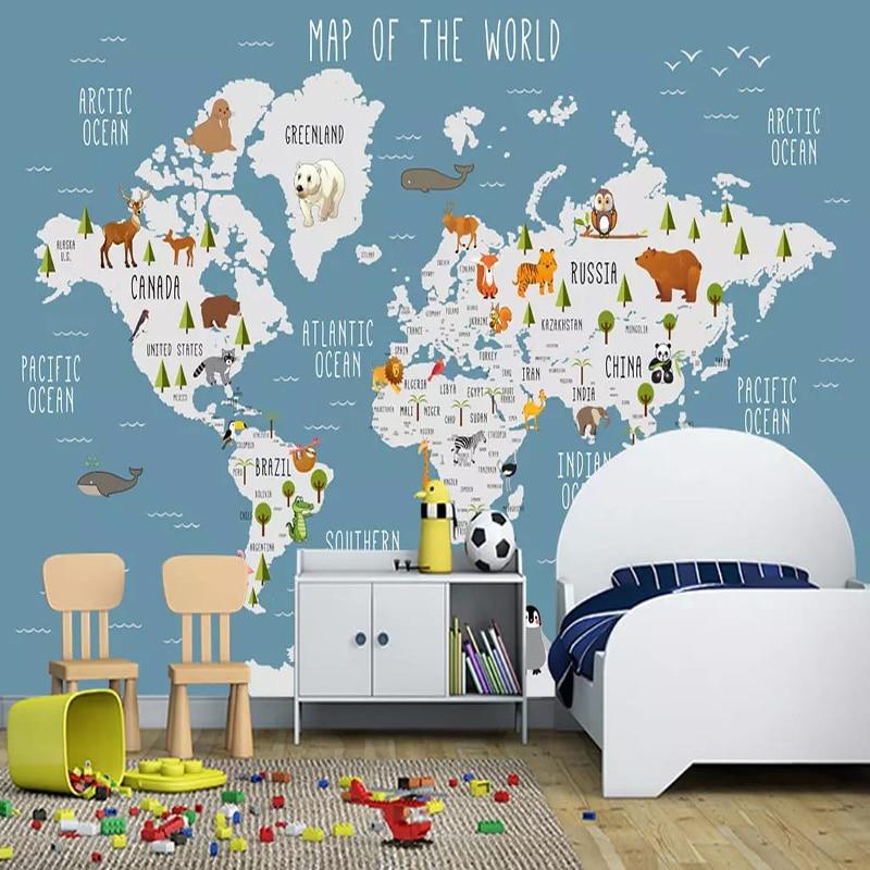 Custom Photo Wallpaper 3D Cartoon World Map Murals Children's Bedroom Girls And Boys Bedding Room Background Wall Paper 3D Decor