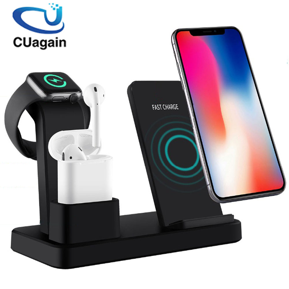 10W Qi Wireless Charger 3 in 1 Fast Charging for Apple Watch 1 2 3 4