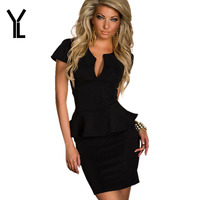 YL Brand Summer Dress Women V-neck Solid Ruffles Office Lady Style New Above Knee Mini Short Sleeve Natural Dress Plus Size