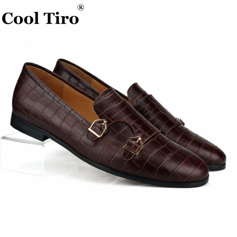 Cool Tiro Brown Double Monk Loafers Men Slippers Moccasins Crocodile print Casual Shoes Wedding Party Dress