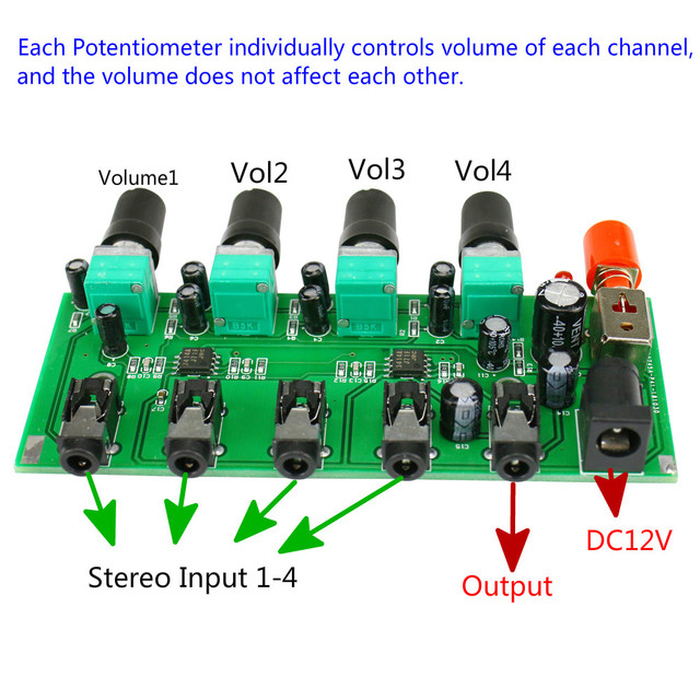 GHXAMP Stereo Mixer (4 Input ,1 output ) Individually Controls Board DIY Headphones Amplifier Case DC12V