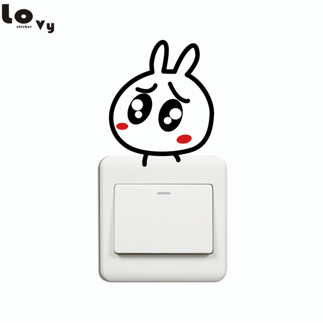 Creative Eyebrows Rabbit Switch Sticker Cute Cartoon Rabbit Wall