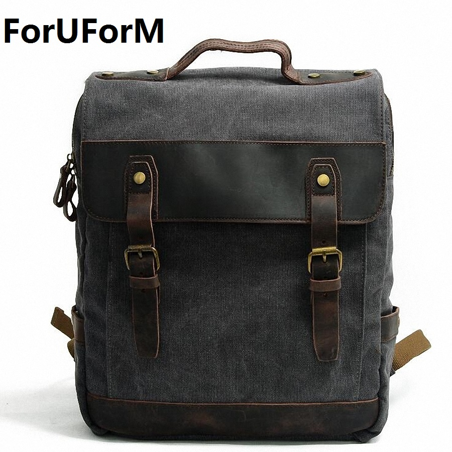 ForUForM Man's Canvas Backpack Travel Schoolbag Male Backpack Men Large Rucksack Shoulder School Bag Mochila Escolar LI-1920 goog yu man s canvas backpack travel schoolbag male large backpack men large capacity rucksack shoulder school bag