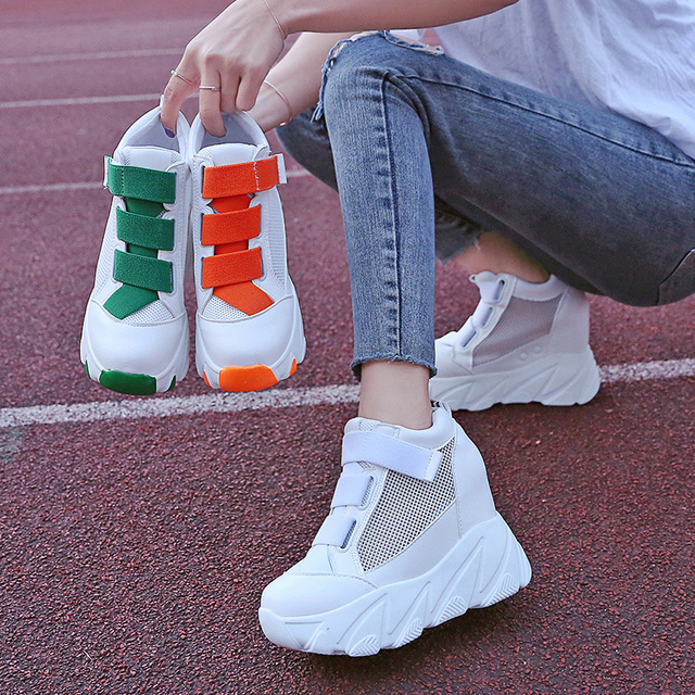 Women Platform Sneakers 2019 Summer Breathable Mesh Shoes Women Wedges Heels Casual Shoes 11 CM Thick