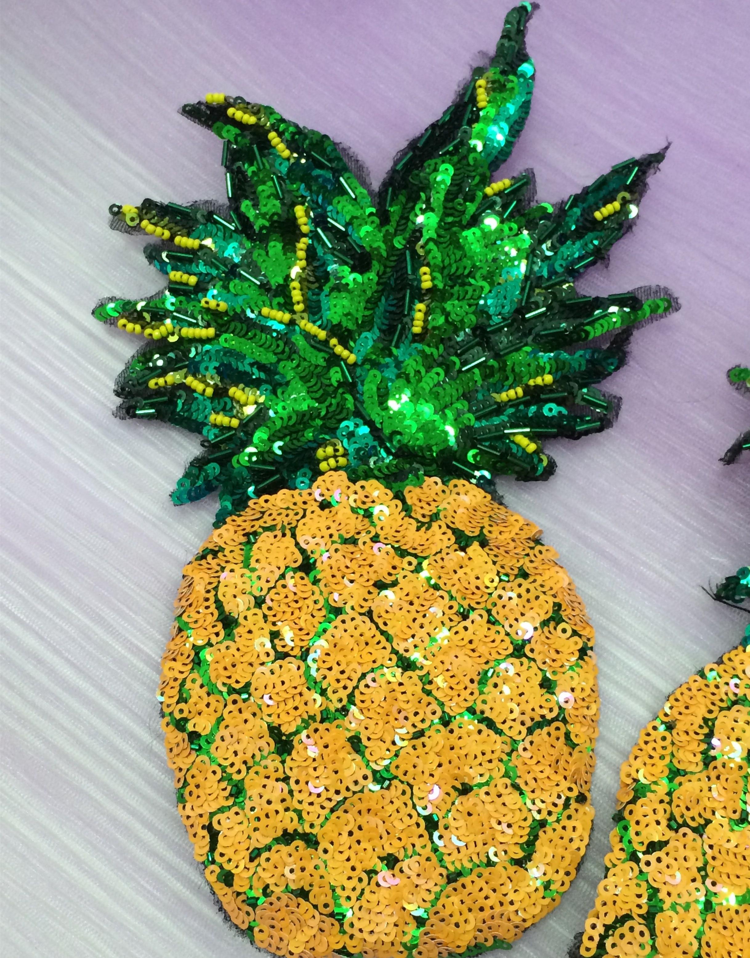 5Pcs DIY Pineapple Fruit Sequins Clothes Iron on Patch Clothing Applique bordado