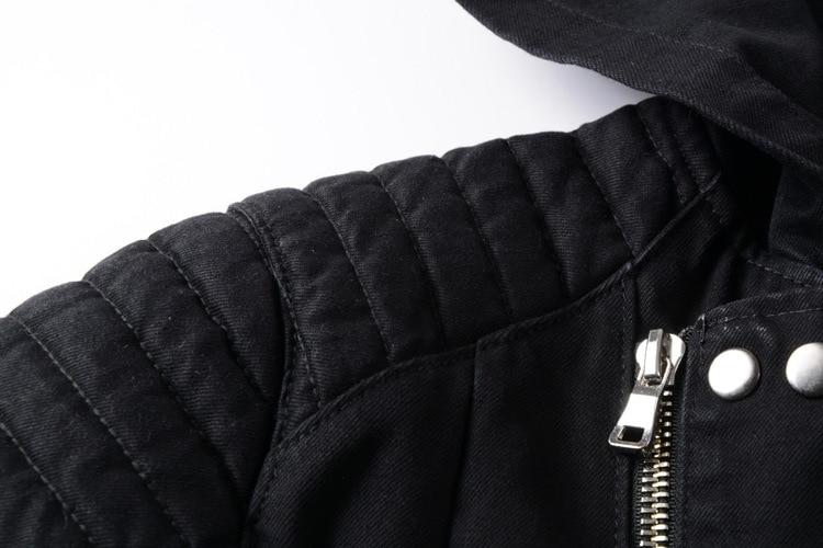 Batmo 2018 Новое поступление осенние высококачественные черные повседневные джинсовые куртки с капюшоном для мужчин, мужские модные куртки бол... - 4