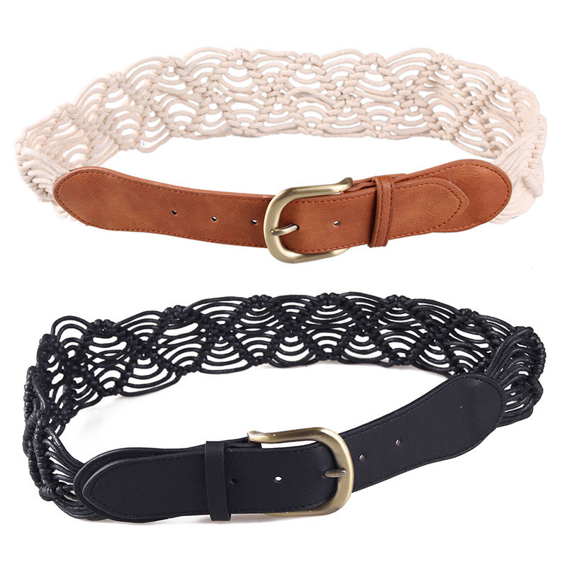 Braided Belt With Wooden Buckle Ladies Casual Solid Luxury Fashion Dress Summer High Quality Woven Women Straw Belt Wood BZ356