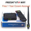 TV por satélite decodificador Receptor Freesat V7 HD DVB-S2 + USB powervu Wfi com 3 linhas Europa conta CCCam suporte completo cccam