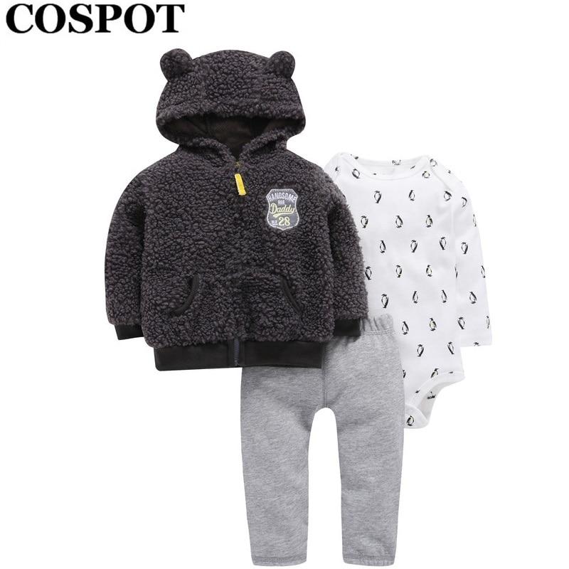 Cospot Rush Sales Baby Boy Girl Clothes Newborn 3Pcs Clothing Set Hoodies+Romper+Pants Kids Outfit Suit Boys Clothes Sets 40E
