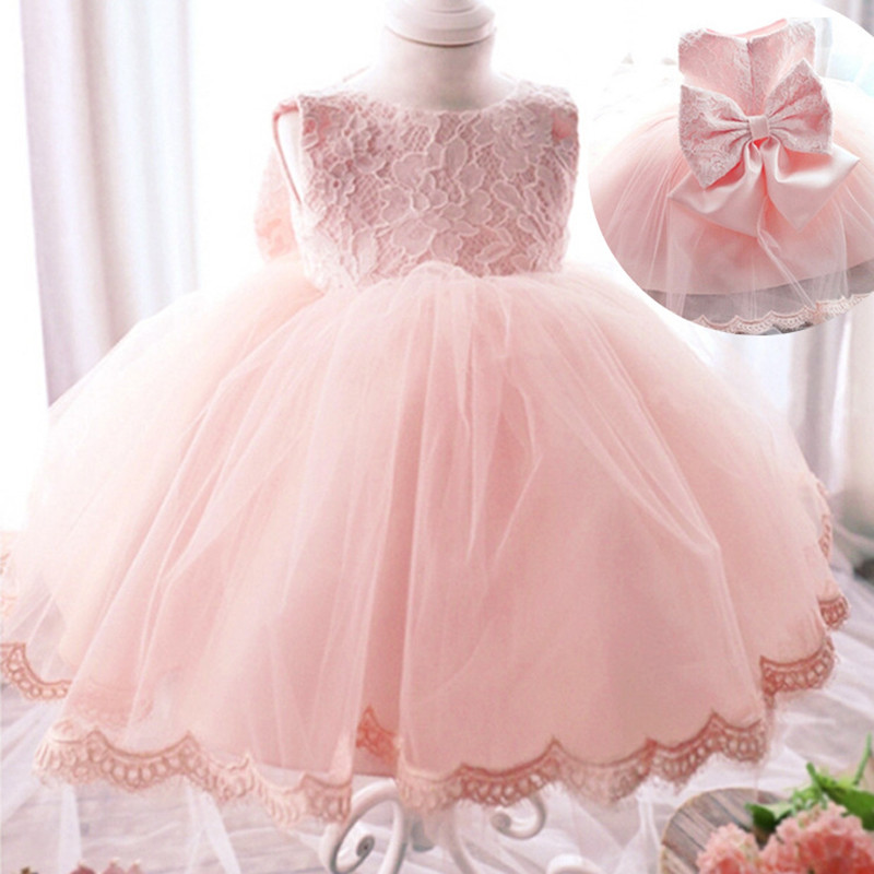 Elegant Girls  Dresses Summer 2016 Fashion Pink Lace Big Bow Party Tulle Flower Princess Wedding Dresses Girl dress send envelope lace laser cut pink invitations cards for wedding free printing blank paper invitation card kit ribbons big bow