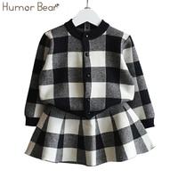 Humor Bear Autumn 2017 New Girls Clothing Sets Casual Long Sleeve Plaid Jackets Skits 2Pcs Suits