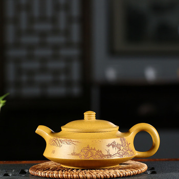 Pottery Teapot Full Manual Raw Ore Gold Section Mud Landscape Zhou Pan Infusion Of Tea Kettle Kungfu Online Teapot Tea Set