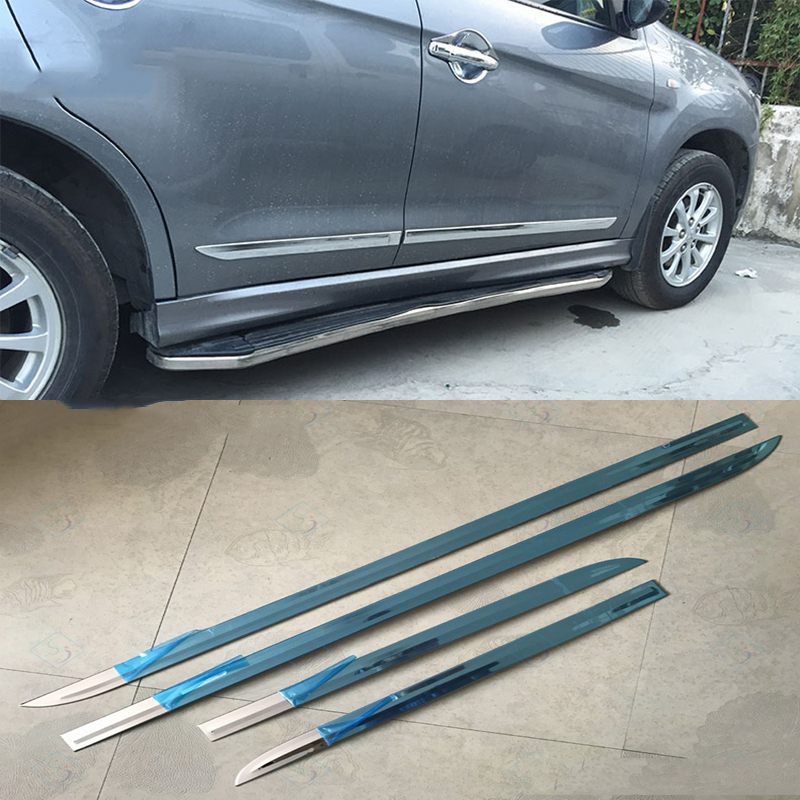 Car Styling For Mitsubishi ASX 2013 2014 2015 Stainless Steel Body Trim Door Linings Side Body Molding Streamer Cover Trims 4Pcs stainless steel side door molding trim cover for 2013 up subaru forester