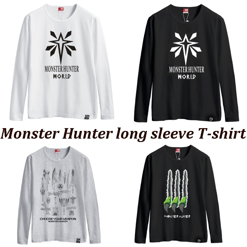 Monster Hunter A T-shirt with long sleeves cotton round collar T-shirt white men and women in the summer Monster Hunter games