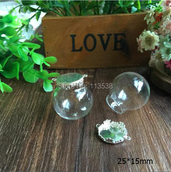Free Ship! *set* 100sets/lot 25mm (15mm opening) Glass globe & silver color base set glass bottle vials pendant jewelry DIY